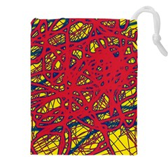 Yellow And Red Neon Design Drawstring Pouches (xxl)
