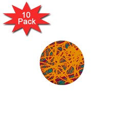 Orange neon chaos 1  Mini Buttons (10 pack)