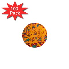 Orange neon chaos 1  Mini Magnets (100 pack)
