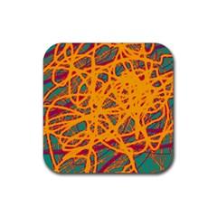 Orange neon chaos Rubber Coaster (Square)