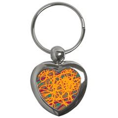 Orange neon chaos Key Chains (Heart)