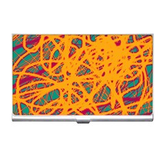 Orange neon chaos Business Card Holders