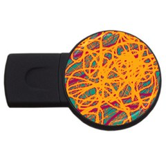 Orange neon chaos USB Flash Drive Round (2 GB)