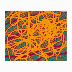 Orange neon chaos Small Glasses Cloth