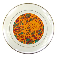Orange neon chaos Porcelain Plates
