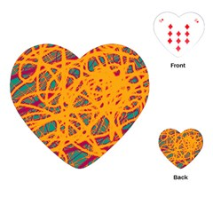 Orange neon chaos Playing Cards (Heart)