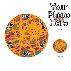 Orange neon chaos Playing Cards 54 (Round)
