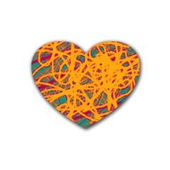 Orange neon chaos Rubber Coaster (Heart)