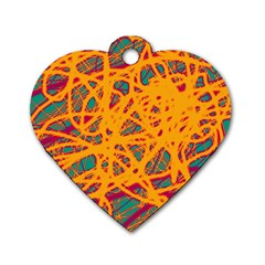 Orange neon chaos Dog Tag Heart (One Side)