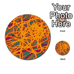 Orange neon chaos Multi-purpose Cards (Round)