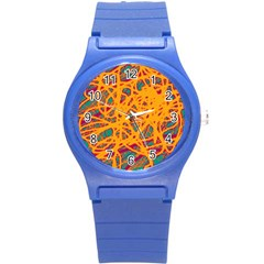 Orange neon chaos Round Plastic Sport Watch (S)