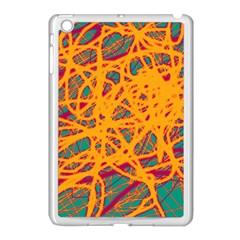 Orange neon chaos Apple iPad Mini Case (White)