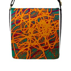 Orange neon chaos Flap Messenger Bag (L)