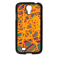 Orange neon chaos Samsung Galaxy S4 I9500/ I9505 Case (Black)