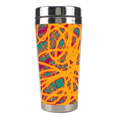 Orange neon chaos Stainless Steel Travel Tumblers