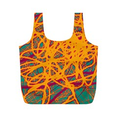 Orange neon chaos Full Print Recycle Bags (M)
