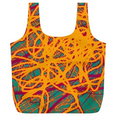 Orange neon chaos Full Print Recycle Bags (L)