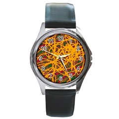Yellow neon chaos Round Metal Watch
