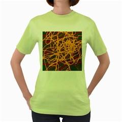 Yellow neon chaos Women s Green T-Shirt
