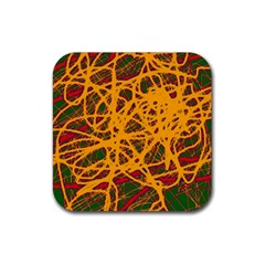 Yellow neon chaos Rubber Square Coaster (4 pack)