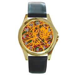 Yellow neon chaos Round Gold Metal Watch