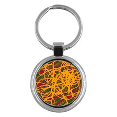 Yellow neon chaos Key Chains (Round)