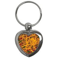 Yellow neon chaos Key Chains (Heart)