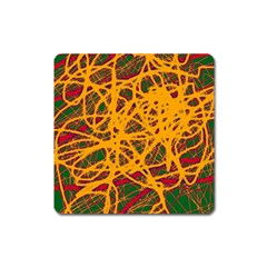 Yellow neon chaos Square Magnet