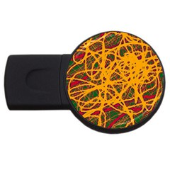 Yellow neon chaos USB Flash Drive Round (4 GB)