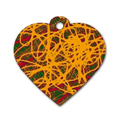 Yellow neon chaos Dog Tag Heart (One Side)