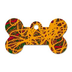 Yellow neon chaos Dog Tag Bone (One Side)