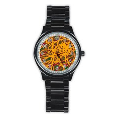 Yellow neon chaos Stainless Steel Round Watch