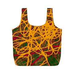 Yellow neon chaos Full Print Recycle Bags (M)