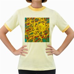 Yellow neon Women s Fitted Ringer T-Shirts
