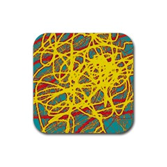Yellow neon Rubber Square Coaster (4 pack)