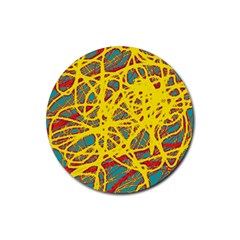 Yellow neon Rubber Round Coaster (4 pack)