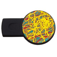 Yellow neon USB Flash Drive Round (1 GB)