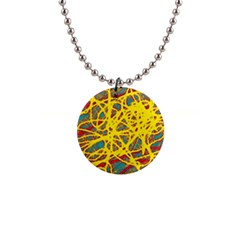 Yellow neon Button Necklaces