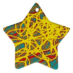 Yellow neon Star Ornament (Two Sides)
