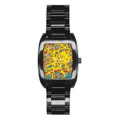 Yellow neon Stainless Steel Barrel Watch