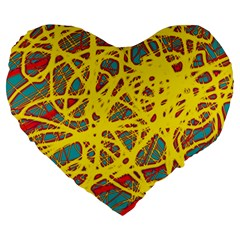 Yellow Neon Large 19  Premium Flano Heart Shape Cushions