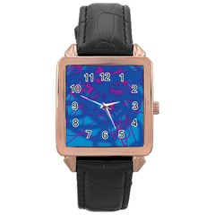 Deep blue Rose Gold Leather Watch