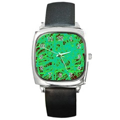 Green neon Square Metal Watch