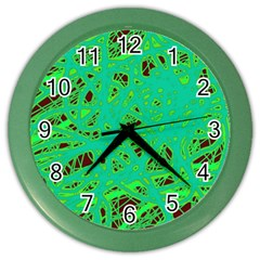 Green neon Color Wall Clocks