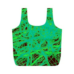 Green neon Full Print Recycle Bags (M)