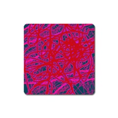 Red Neon Square Magnet