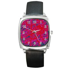 Red neon Square Metal Watch