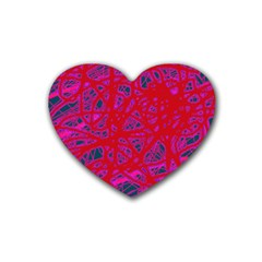 Red neon Heart Coaster (4 pack)