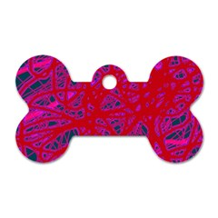 Red neon Dog Tag Bone (Two Sides)