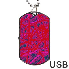 Red neon Dog Tag USB Flash (Two Sides)